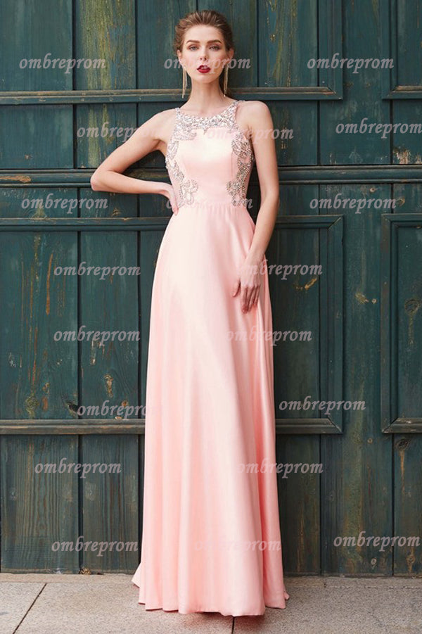 Pink A Line Floor Length Sleeveless Backless Beading Satin Prom Dress,Party Dress