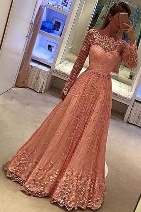 Pink A Line Floor Length Off Shoulder Long Sleeve Lace Prom Dress,Party Dress