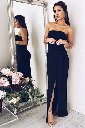 Black Sheath Ankle Length Strapless Sleeveless Slit Simple Prom Dress,Party Dress P517 - Ombreprom