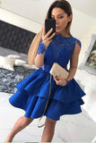 Royal Blue Jewel Neck Long Sleeve Homecoming Dress,Appliques Short/Mini Prom Dress