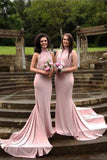 Pink Mermaid Court Train Halter Sleeveless Backless Cheap Bridesmaid Dress