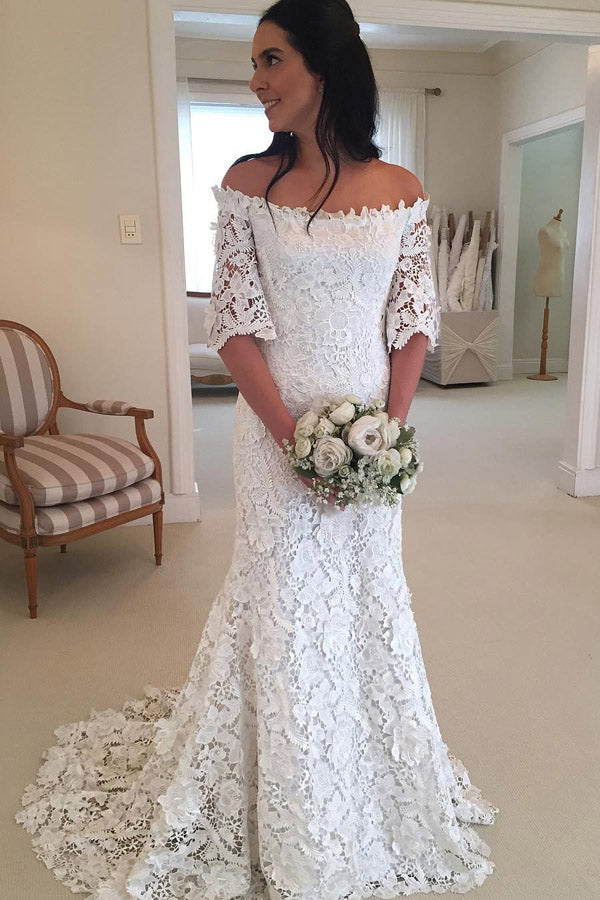 White A Line Brush Train Off Shoulder Half Sleeve Lace Wedding Dress,Beach Wedding Dress