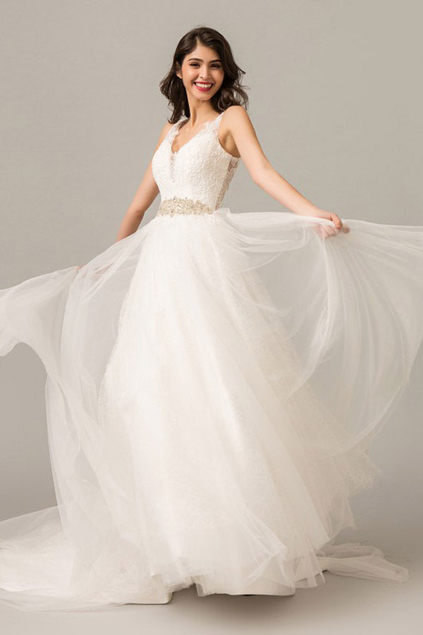 White A Line Court Train V Neck Sleeveless Layers Wedding Dress,Perfect Wedding Dress