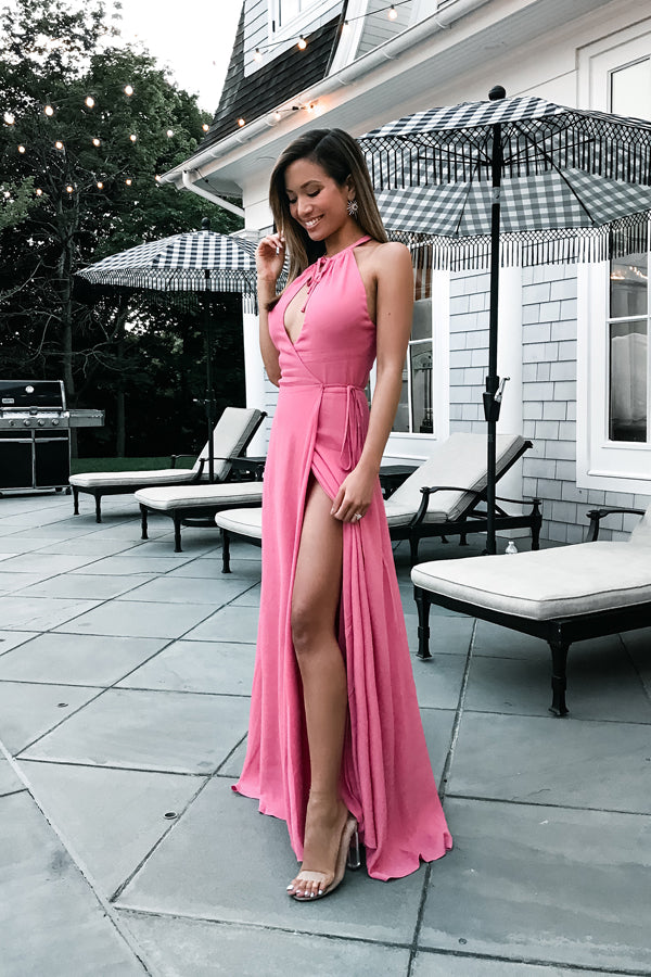 Pink A Line Floor Length Halter Sleeveless Side Slit Prom Dress,Party Dress