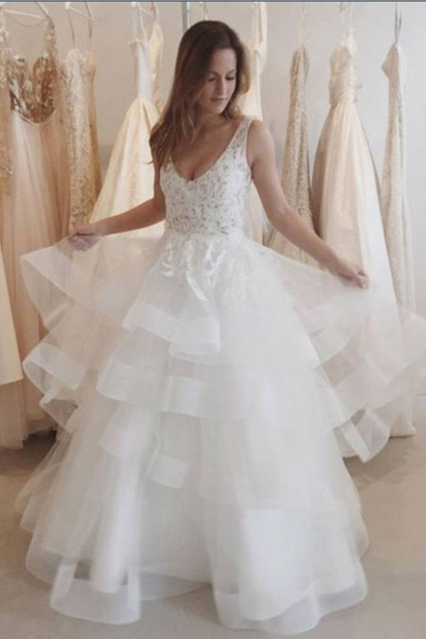 White A Line Floor Length Sleeveless Backless Ruffles Organza Wedding Dress,Beach Wedding Dress