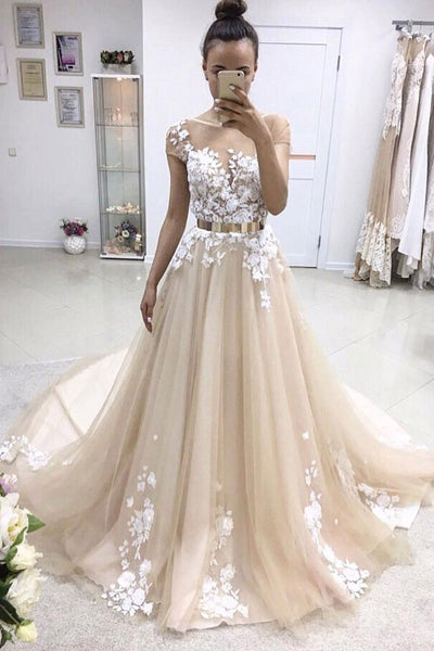 A Line Court Train Short Sleeve Layers Appliques Wedding Dress,Perfect Wedding Gowns