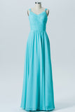 Pool Blue A Line Floor Length Curve Neck Mid Back Cheap Bridesmaid Dresses