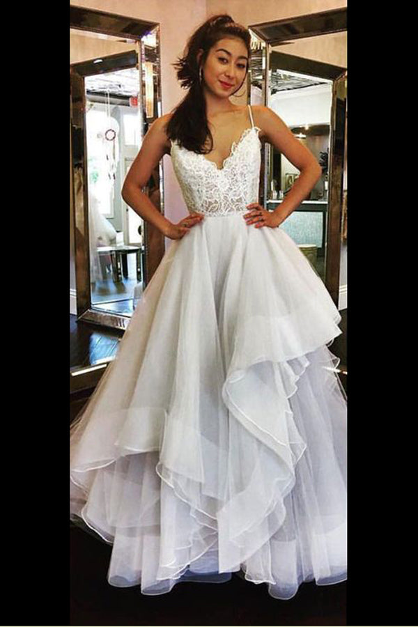 A Line Sweep Train Sweetheart Spaghetti Sleeveless Mid Back Appliques Ruffles Wedding/Prom Dress P67 - Ombreprom