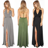 Black V Neck Halter Long Prom Dresses with Side Slit, Cheap Formal Dresses FP2581