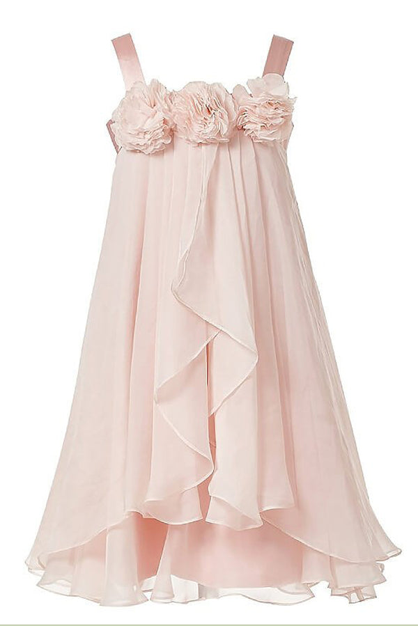Pink A Line Floor Length Square Neck Sleeveless Chiffon Flower Girl Dresses,Baby Dress
