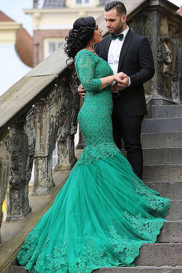 Hunter Trumpet Court Train Long Sleeve Appliques Lace Up Prom Dress,Party Dress