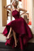 Burgundy A Line Asymmetrical Halter Sleeveless Long Prom Dress,Party Dress P188