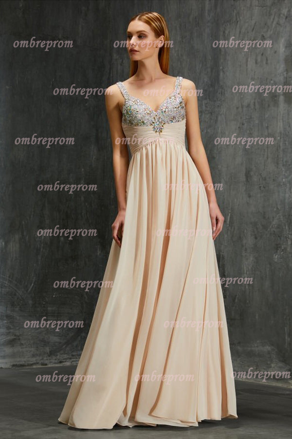 A Line Floor Length Sweetheart Sleeveless Beading Chiffon Prom Dress,Party Dress P381 - Ombreprom