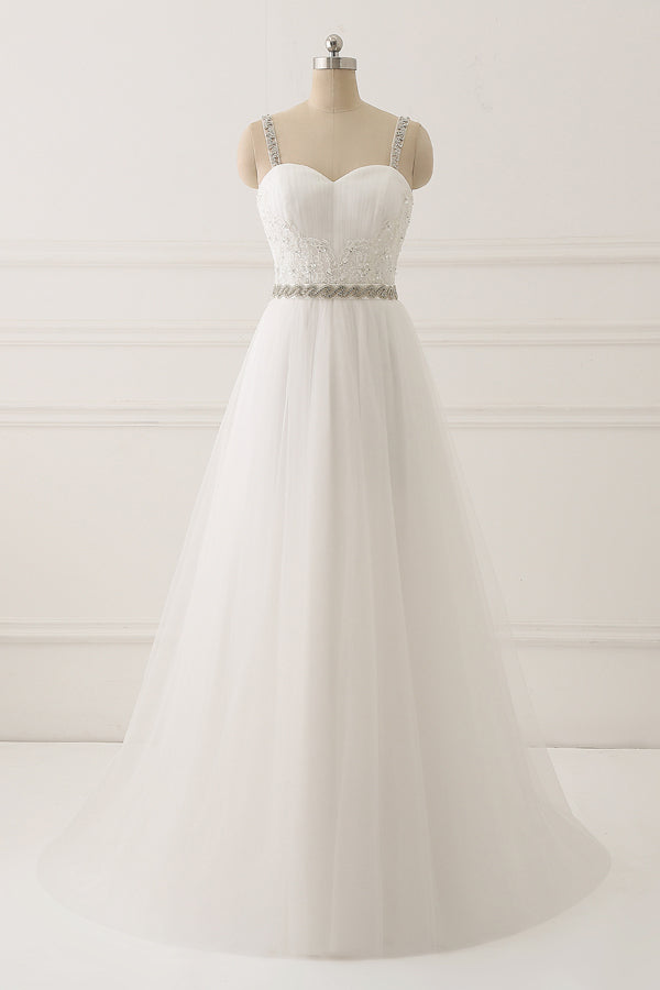 White A Line Brush Train Sweetheart Sleeveless Beading Wedding Dress,Beach Wedding Dress