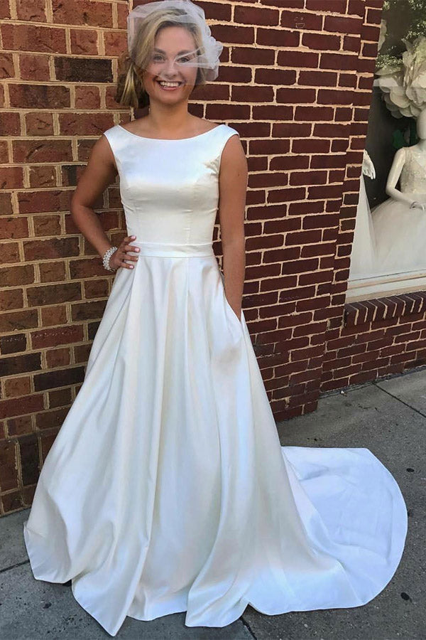 White A Line Court Train Bateau Neck Sleeveless Satin Wedding Dress,Beach Wedding Dress