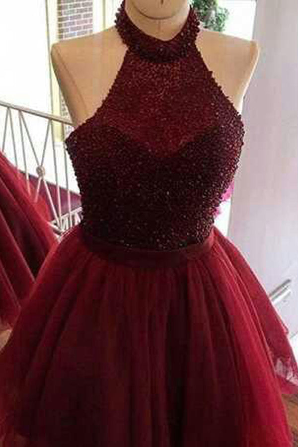 Burgundy Halter Homecoming Dress,Sleeveless Open Back Beading Short Prom Dress