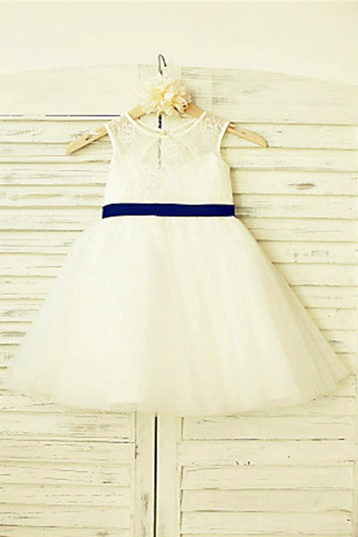 A Line Floor Length Scoop Neck Sleeveless Bowknot Flower Girl Dresses,Baby Dress F27 - Ombreprom