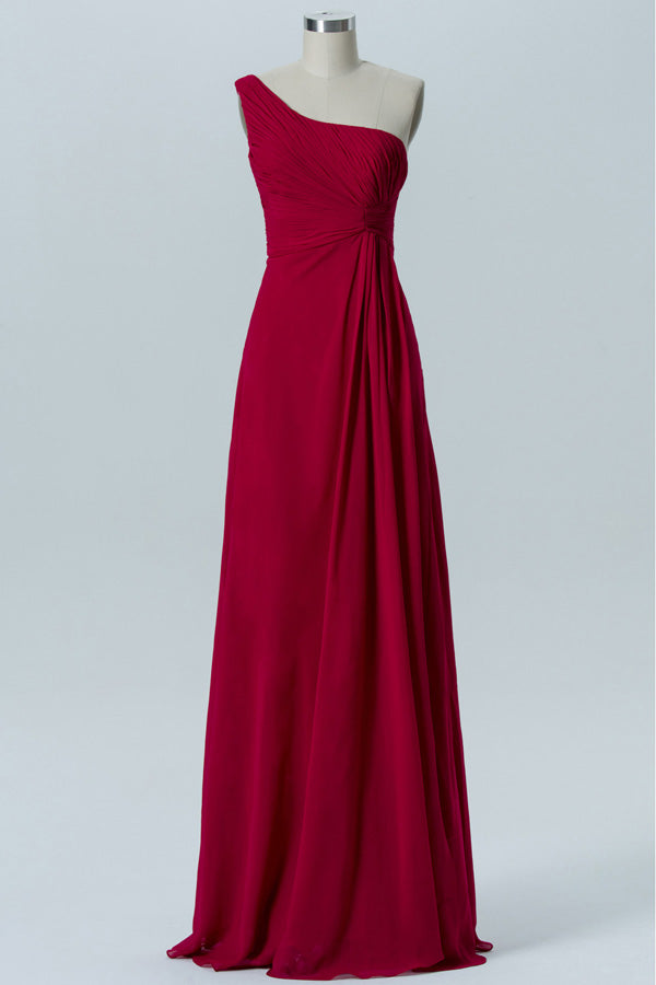 Deep Claret A Line Floor Length One Shoulder Sleeveless Open Back Cheap Bridesmaid Dresses B158 - Ombreprom