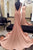 Pink Sheath Court Train Jewel Neck Sleeveless Backless Prom Dress,Party Dress