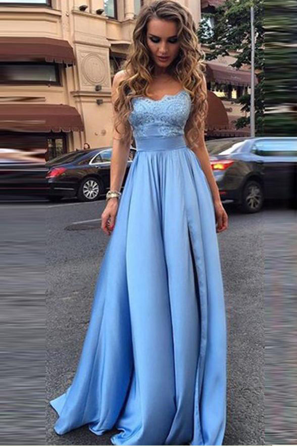 Blue A Line Floor Length Sweetheart Spaghetti Empire Appliques Evening/Prom Dress P49 - Ombreprom