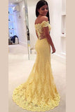 Yellow Trumpet Sweep Train Off Shoulder Sheer Back Appliques Evening/Prom Dress
