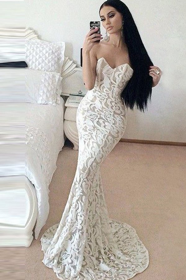 White Mermaid Court Train Sweetheart Sleeveless Lace Prom Dress,Party Dress P351