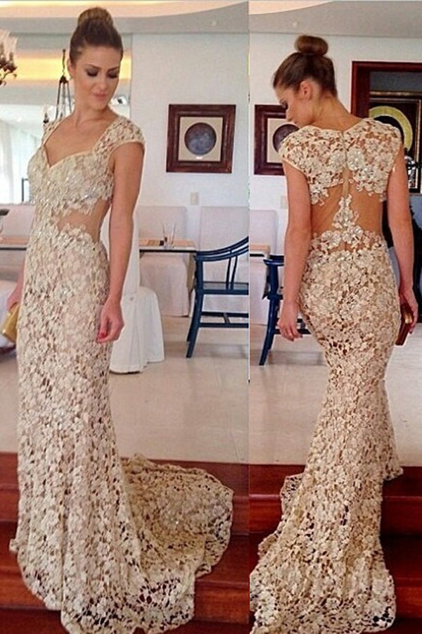 Ivory Sheath Sweep Train Sweetheart Capped Sleeve Lace Beading Prom Dress,Party Dress
