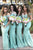 Mint Green Mermaid Court Train Off Shoulder Appliques Cheap Bridesmaid Dress