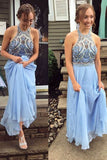 Light Blue A Line Floor Length Halter Sleeveless Beading Backless Evening/Prom Dress