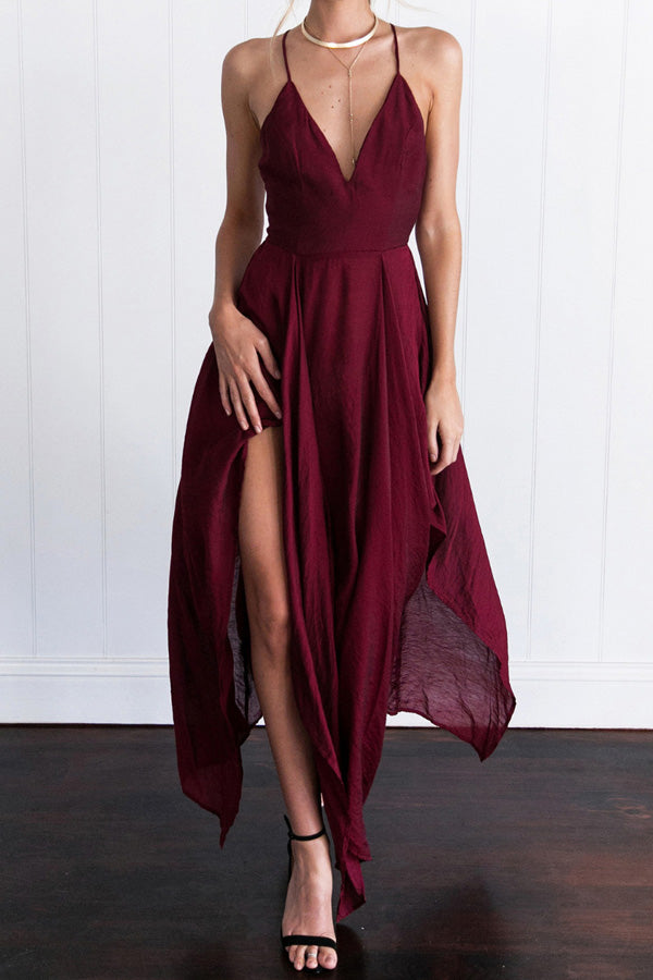 Burgundy  Asymmetrical A Line Deep V Neck Sleeveless Backless Side Slit Evening/Prom Dress P76 - Ombreprom