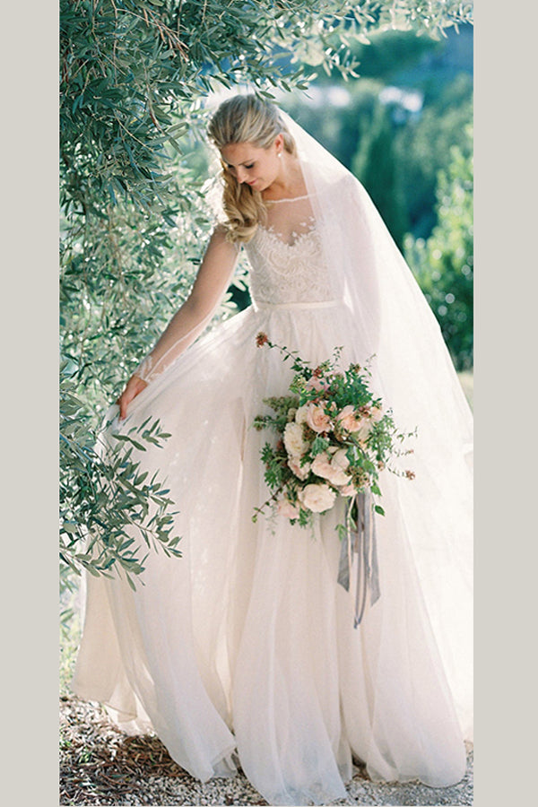 White A Line Brush Train Long Sleeves Appliques Chiffon Wedding Dress,Beach Wedding Dress