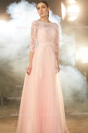 Pink A Line Floor Length Sheer Neck 3/4 Sleeve Lace Prom Dress,Party Dress