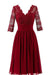 Burgundy A Line Knee Length V Neck 1/2 Sleeve Hollow Cheap Bridesmaid Dress B283