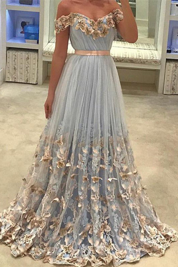 Light Lavender A Line Sweep Train Off Shoulder Mid Backless Floral Prom Dress,Formal Dress P109