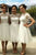 White A Line Knee Length Sheer Neck Short Sleeve Appliques Cheap Bridesmaid Dress