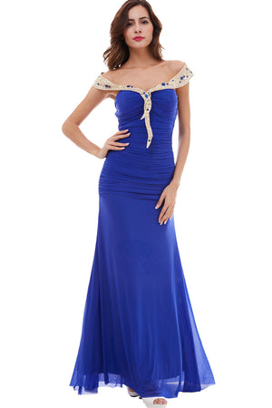 Blue Sheath Floor Length Off Shoulder Layers Beading Prom Dress,Party Dress P470 - Ombreprom