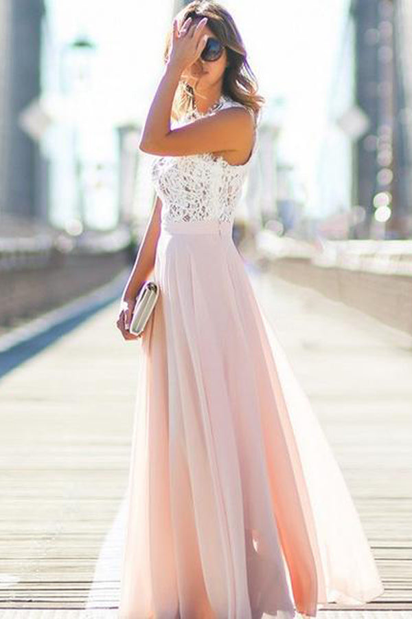 A Line/Princess Floor Length Jewel Neck Sleevelss Appliques Evening/Prom Dress P51 - Ombreprom