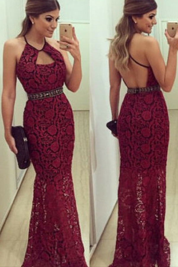 Burgundy Sheath Floor Length Halter Sleeveless Low Back Lace Prom Dress,Party Dress P342 - Ombreprom