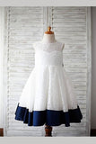 White A Line Floor Length Sleeveless Bowknot Zipper Back Flower Girl Dresses,Baby Dress
