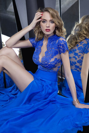 Blue A Line Sweep Train Deep V Neck Short Sleeve Lace Side Slit Long Prom Dress,Party Dress P196 - Ombreprom