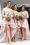 Pink A Line Asymmetrical Jewel Neck 1/2 Sleeve Appliques Bridesmaid Dress, Wedding Party Dress