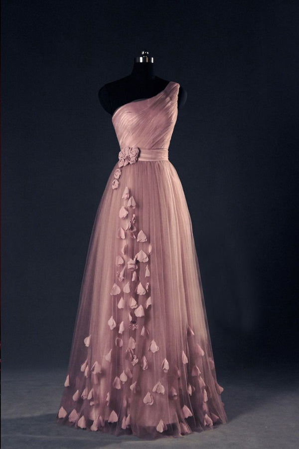 A Line/Princess Floor Length One Shoulder Sleevelss Appliques Evening/Prom Dress P52 - Ombreprom