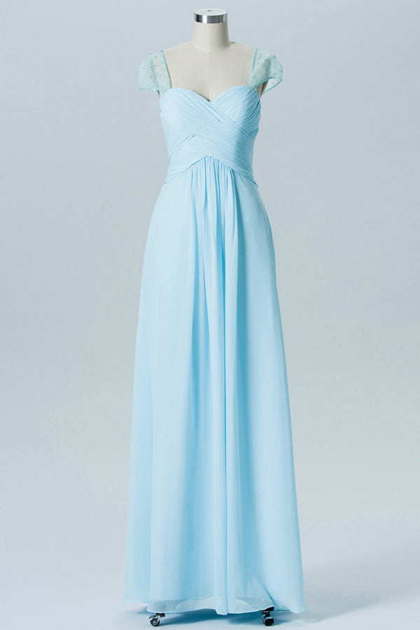 Pastel Blue A Line Floor Length Sweetheart Lace Capped Sleeve Open Back Cheap Bridesmaid Dress