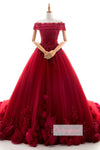 Ball Gown Chaple Train Off Shoulder Floral Lace Up Wedding Gowns,Wedding Dress