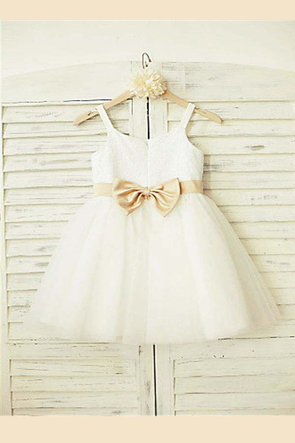 White A Line Floor Length Straps Sleeveless Bowknot Flower Girl Dresses,Baby Dress