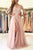 Pink A Line Brush Train 3/4 Sleeve Backless Layers Aplliques Prom Dress,Party Dress