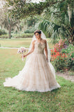 Sweetheart Strapless Mid Back Cheap Wedding Gown,Sweep Train Beading Ball Gown Wedding Dress