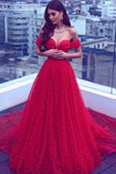 Red A Line Court Train Off Shoulder Sweetheart Sleeveless Lace Up Prom Dress,Party Dress