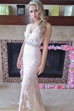 Ivory Sheath Floor Length V Neck Sleeveless Keyhole Back Appliques Prom Dress,Party Dress