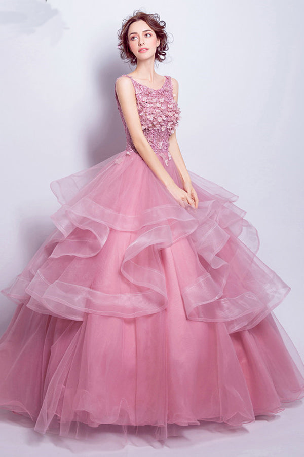 Pink Ball Gown Floor Length Scoop Neck Sleeveless Appliques Ruffles Long Prom Dress,Party Dress